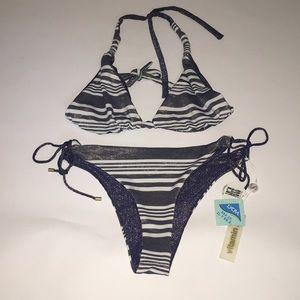 Vitamin A reversible bling striped bikini NWT 8 M